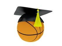 illustration 3D de boule avec le chapeau d'obtention du diplôme d'isolement sur le blanc Photo libre de droits