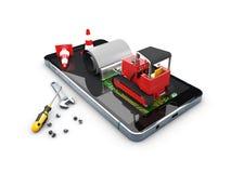 illustration 3d de bouteur sur l'écran Réparation de mobile de concept Images stock