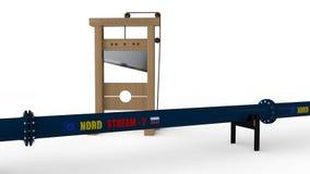 """illustration 3D de canalisation """"de courant du nord """"et de la guillotine L'idée de nous sanctions contre la Russie dans la constr illustration libre de droits"""