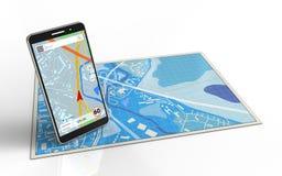 illustration 3d de carte bleue avec la navigation de téléphone portable Photos libres de droits