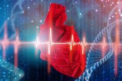 illustration 3d de coeur et de cardiogramme humains sur le fond bleu futuriste Technologies numériques dans la médecine