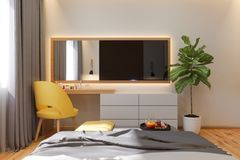 illustration 3d de concept de construction intérieure de chambre à coucher dans le style scandinave illustration libre de droits