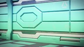 illustration 3D de couloir réaliste de vaisseau spatial de la science fiction illustration stock