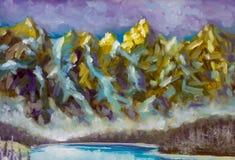 Illustration d'illustration de crêtes de montagne - art de peinture à l'huile de paysage de montagne illustration stock