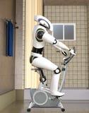 illustration 3D de cyborg futuriste sur le vélo d'exercice Photos libres de droits