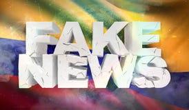 illustration 3D de faux concept de nouvelles avec le drapeau de fond de la Colombie illustration libre de droits