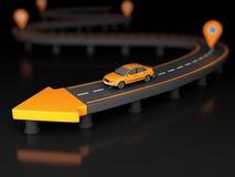 illustration 3d de flèche de route à l'extrémité d'une route avec la voiture et les points de contrôle illustration de vecteur