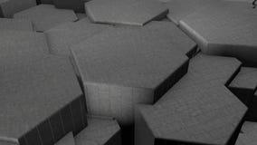 illustration 3D de fond futuriste abstrait de beaucoup de différents hexagones, nid d'abeilles fait de fer, argent et or, avec illustration libre de droits