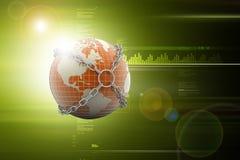 illustration 3d de globe avec la chaîne Photo libre de droits