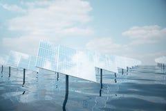 illustration 3D de grands panneaux solaires sur la mer, l'océan ou la rivière Réflexion des nuages sur les cellules photovoltaïqu Photographie stock