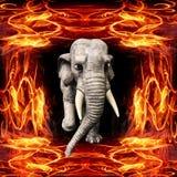 illustration 3D de l'éléphant fonctionnant hors de la flamme illustration libre de droits