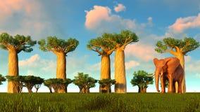 illustration 3d de l'éléphant marchant près des arbres de baobab illustration libre de droits