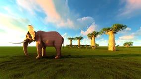 illustration 3d de l'éléphant marchant près des arbres de baobab illustration de vecteur