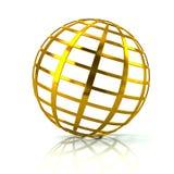 Illustration d'or de l'icône 3d de globe Photographie stock