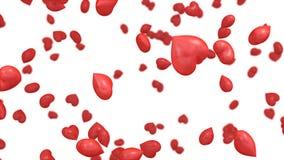 illustration 3D de la chute de coeurs Photo stock