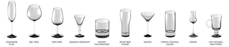 illustration 3D de la grande collection de différents verres pour des boissons d'alcool et de cocktails d'isolement sur la vue bl illustration stock