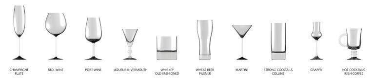 illustration 3D de la grande collection de divers verres pour des boissons d'alcool et de cocktails d'isolement sur la vue de cô illustration de vecteur