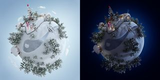 illustration 3d de la planète de Noël avec l'arbre de Noël et des cadeaux de Noël près de la route givrée illustration de vecteur