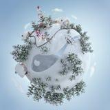 illustration 3d de la planète de Noël avec l'arbre de Noël et des cadeaux de Noël près de la route givrée illustration libre de droits