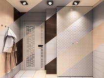 illustration 3D de la salle de bains dans des tons bruns illustration stock