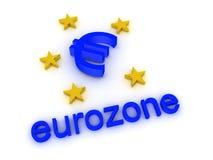 illustration 3D de logo de zone euro Images libres de droits