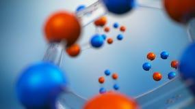 illustration 3d de modèle de molécule Fond de la Science avec des molécules et des atomes Image libre de droits