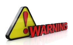 illustration 3d de panneau d'avertissement avec la marque d'exclamation Image libre de droits