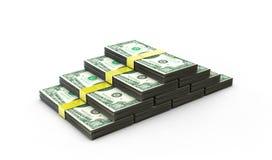 illustration 3d de pile des dollars au-dessus du fond blanc Images libres de droits