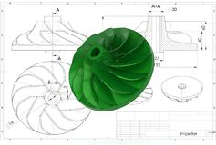 illustration 3D de roue à aubes de turbo illustration stock