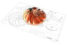 illustration 3D de roue à aubes de turbo illustration libre de droits