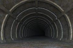 illustration 3d de route concrète sale de tunnel Images stock