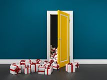 illustration 3d de sortir infini de boîte-cadeau d'une porte Image libre de droits