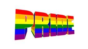 illustration 3D de texte de FIERTÉ enveloppée avec le drapeau de fierté de LGBT sur le fond noir rendu 3d illustration stock