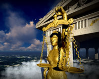Illustration 3d de Themis devant le tribunal Image stock