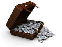 Valise complètement d'argent Image libre de droits