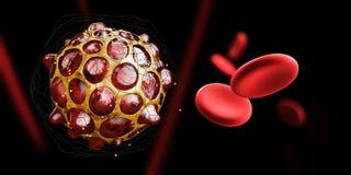 illustration 3d de virus ou de bactéries avec le globule sanguin, fond noir Image libre de droits