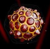 illustration 3d de virus ou de bactéries, fond noir Photo stock