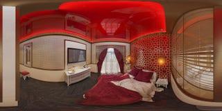 illustration 3d 360 degrés de chambre à coucher de panorama Photo stock