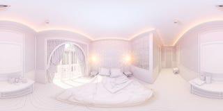 illustration 3d 360 degrés de chambre à coucher de panorama Photographie stock libre de droits