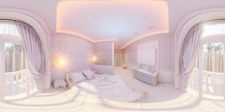 illustration 3d 360 degrés de chambre à coucher de panorama Image libre de droits