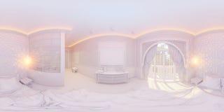 illustration 3d 360 degrés de chambre à coucher de panorama Images libres de droits