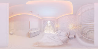 illustration 3d 360 degrés de chambre à coucher de panorama Photographie stock