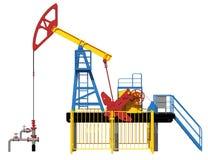 illustration 3d Den olje- pumpen Rött blått, guling facade royaltyfri illustrationer
