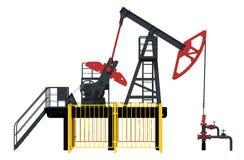 illustration 3d Den olje- pumpen Rött och mörkt - grå färger facade royaltyfri illustrationer