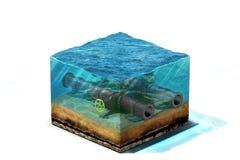Illustration 3d der Ölpipeline mit dem Ventil, das auf Meeresboden unter Wasser liegt Stockbild
