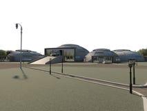 Illustration 3D der Anlage auf der Verarbeitung des Hausmülls Stockfoto