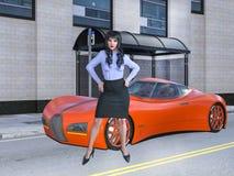 Illustration 3D der attraktiven Geschäftsfrau mit exotischem Auto in der Großstadt lizenzfreie abbildung
