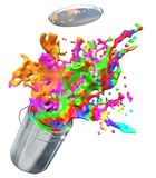 Illustration 3d der bunten Farbe von Farbeimer sprengend Lizenzfreies Stockfoto