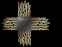 Illustration 3d der CPU Chip-Zentraleinheitseinheit mit Kontakten Lizenzfreie Stockbilder