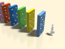 Illustration 3D der Dominotötung Stockbild